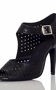 Для женщин-Кожа-Не персонализируемая(Черный / Белый) -Латина / Танцевальные кроссовки
