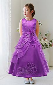 Robe de Soirée Longueur Cheville Robe de Demoiselle d'Honneur Fille - Organza / Satin Sans Manches Bijoux avec Fleur(s) / Détail Perle