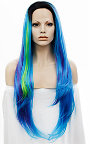IMSTYLE30Extra Long Mix Blue Hair With Dark Root Synthetic Lace Wig Affordable