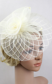 Women's Feather / Net Headpiece-Wedding / Special Occasion Party Grid Fascinators 1 Piece Black / Beige