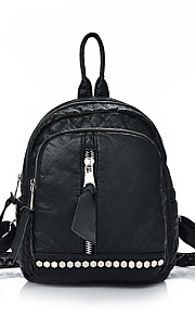 Women leatherette Sports / Casual / Outdoor / Shopping Backpack Black