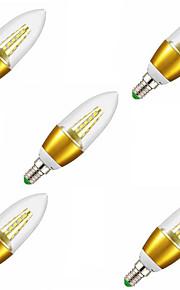 5W E14 LED-lysestakepærer C35 25LED SMD 2835 450LM lm Varm hvit Dekorativ AC 220-240 V 5 stk.