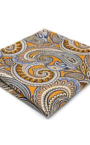 Mens Pocket Square Handkerchief Hanky Orange Paisley For Men 100% Silk Business