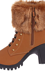 Women's Boots Spring / Fall / Winter Platform Leather Casual Chunky Heel Rivet / Fur / Zipper Black / Yellow Others