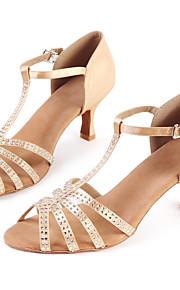 Для женщин-Сатин-Персонализируемая(Золотистый) -Латина / Джаз / Модерн / Сальса / Обувь для свинга