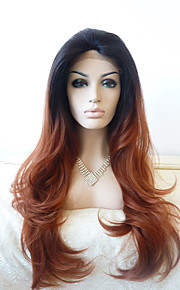 Sylvia Synthetic Lace front Wig Black Brown Ombre Heat Resistant Long Natural Wave Synthetic Wigs