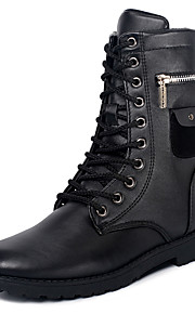 Men's Boots Spring / Fall / Winter Others PU Outdoor / Casual Flat Heel Studded / Lace-up Black Walking / Others