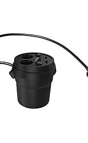 usb bil oplader 5v / 3.1a 2 porte kopholder med to sokler cigarettænder strømforsyning