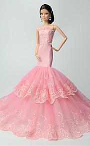 Fest/aften Kjoler Til Barbie Doll Rosa Blonder Kjoler