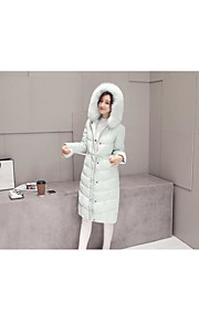 Women's Long Down Coat,Vintage / Street chic Casual/Daily Solid-Polyester White Duck Down Long Sleeve Hooded Red / White / Black / Green