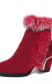 Women's Boots Spring / Fall / Winter Others Leather Casual Chunky Heel Fur / Zipper Black / Red Others
