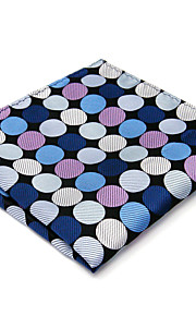 Mens Pocket Square Hanky Handkerchief Handkerchief Dots Blue Business