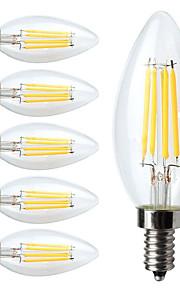4W E12 Ampoules à Filament LED C35 4 COB 380 lm Blanc Chaud Gradable V 6 pièces