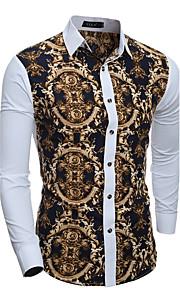 דפוס / קולור בלוק צווארון חולצה בוהו / סגנון רחוב ליציאה / פורמאלי / מועדונים חולצה גברים,כל העונות שרוול ארוך לבן דק כותנה