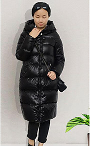 Women's Long Down Coat,Simple Casual/Daily Solid-Polyester Polypropylene / White Duck Down Long Sleeve Black