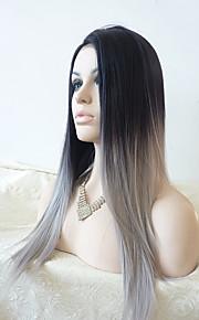 Sylvia syntetisk blonder foran parykk svart til grå hår varmebestandige lange rette ombre syntetiske parykker