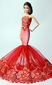 Prinsesse Kjoler Til Barbie Doll Rød Blonder Kjoler