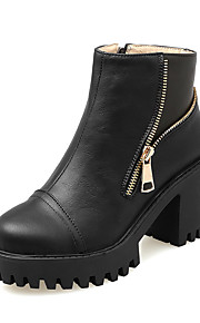 Women's Pu Low Top Solid Zipper High Heels Boots with Metal Ornament