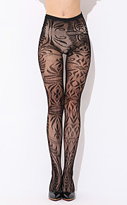 Women Thin High Waist Pattern Perspective Pants Stockings