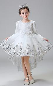 Robe de Soirée Asymétrique Robe de Demoiselle d'Honneur Fille - Dentelle / Tulle Manches longues Bijoux avec Fleur(s) / Paillettes