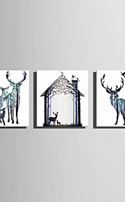 E-HOME Stretched Canvas Art Fantastic Deer Decoration Painting  Set of 3