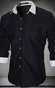 Heren Eenvoudig Lente / Herfst Overhemd,Casual/Dagelijks Effen Overhemdkraag Lange mouw Zwart Katoen / Overige Medium
