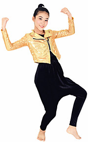 Outfits Performance Spandex / Polyester Pockets 3 Pieces Jazz Long Sleeve High Top / Coat / Pants
