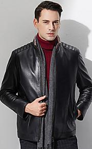 Vestes en Cuir Hommes,Couleur Pleine Décontracté / Quotidien / Grandes Tailles simple Manches Longues Mao Noir Autres EpaisAutomne /