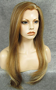 IMSTYLE 24''High Quality Popular Mix Brown Straight Synthetic Lace Front Wig
