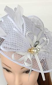 Femme Dentelle Plume Zircon Filet Casque-Mariage Occasion spéciale Décontracté Coiffure Chapeau 1 Pièce