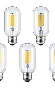 6W E26/E27 Ampoules à Filament LED 6 COB 560 lm Blanc Chaud / Blanc Froid V 5 pièces