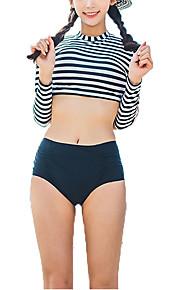 De las mujeres Bikini-Cintura Alta / DeporteCon Cordones-Nailon / Poliéster / Espándex