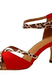 Для женщин-Сатин-Персонализируемая(Розовый / Красный) -Латина / Джаз / Сальса / Обувь для свинга