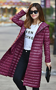 Women's Long Down Coat,Simple Casual/Daily Solid-Polyester White Duck Down Long Sleeve Red