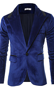 Blazer Hommes,Couleur Pleine Décontracté / Quotidien simple Automne / Hiver Manches Longues Col de Chemise Bleu / Noir Coton / Polyester