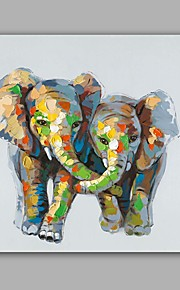Hand-Painted Abstract / Animal Elephants 100% Hang-Painted Oil PaintingModern / Classic One Panel Canvas Oil Painting For Home Decoration