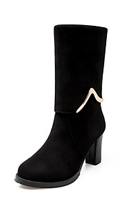Women's High Heels Solid Round Closed Toe Frosted Pull On Boots
