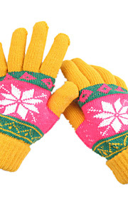 ms vinter ull strikke varme hansker (gul)