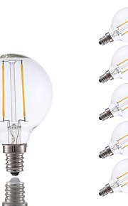 2W E12 Ampoules à Filament LED G16.5 2 COB 200 lm Blanc Chaud Gradable V 6 pièces