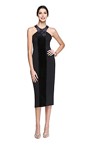TS Couture Cocktail Party Prom Dress - Ivanka Style Celebrity Style Little Black Dress Sheath / Column Halter Tea-lengthMatte Satin