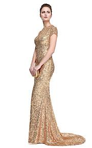 TS Couture® Formell kväll Klänning - Elegant Kändis Stil Trumpet / sjöjungfru Prydd med juveler Svepsläp Paljetter med Paljetter