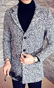 Herren Solide Einfach Lässig/Alltäglich Mantel,Herbst Winter Hemdkragen Langarm Beige Grau Mittel Elasthan