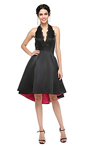 TS Couture Cocktail Party Prom Dress - Little Black Dress Open Back A-line Halter Asymmetrical Satin with Appliques Pleats