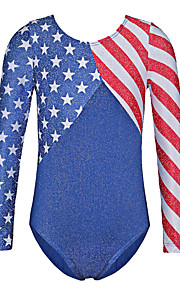 America Flag Pattern Toddler Crop Tops Gold Foiled Long Sleeve Ballet Leotards for 5-14Years Girls