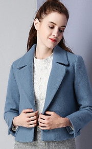 KAN F Women's Casual/Daily Simple JacketsSolid Notch Lapel Long Sleeve Winter Blue Wool Polyester Spandex