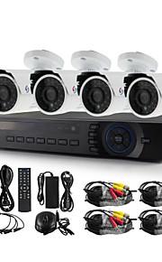 yanse® 4ch ahd-m 1200tvl cctv camera dvr kit ir waterdicht beveiligingssysteem 720p