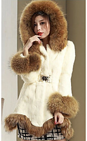 Women's Casual/Daily Simple Fur Coat,Solid Round Neck Long Sleeve Winter Red White Black Faux Fur Thick