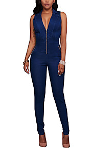 Women's Skinny JumpsuitsGoing out Casual/Daily Sexy Simple Solid Denim Slim Classic V Neck Sleeveless Mid Rise Micro-elastic Summer