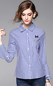 JOJO HANS Women's Casual/Daily Work Simple Spring Summer ShirtStriped Shirt Collar Long Sleeve Blue Cotton