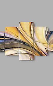 5 Panel HD Print Canvas Painting Yellow Wall ART Abstract Home Office Decor (No Frame)